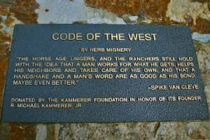 Code of the West plaque